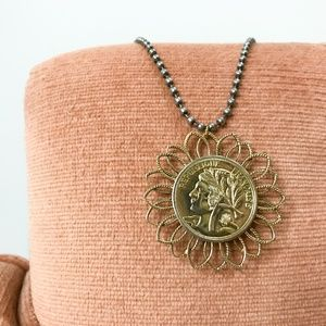 Jewelry - Vintage Coin Brooch Necklace